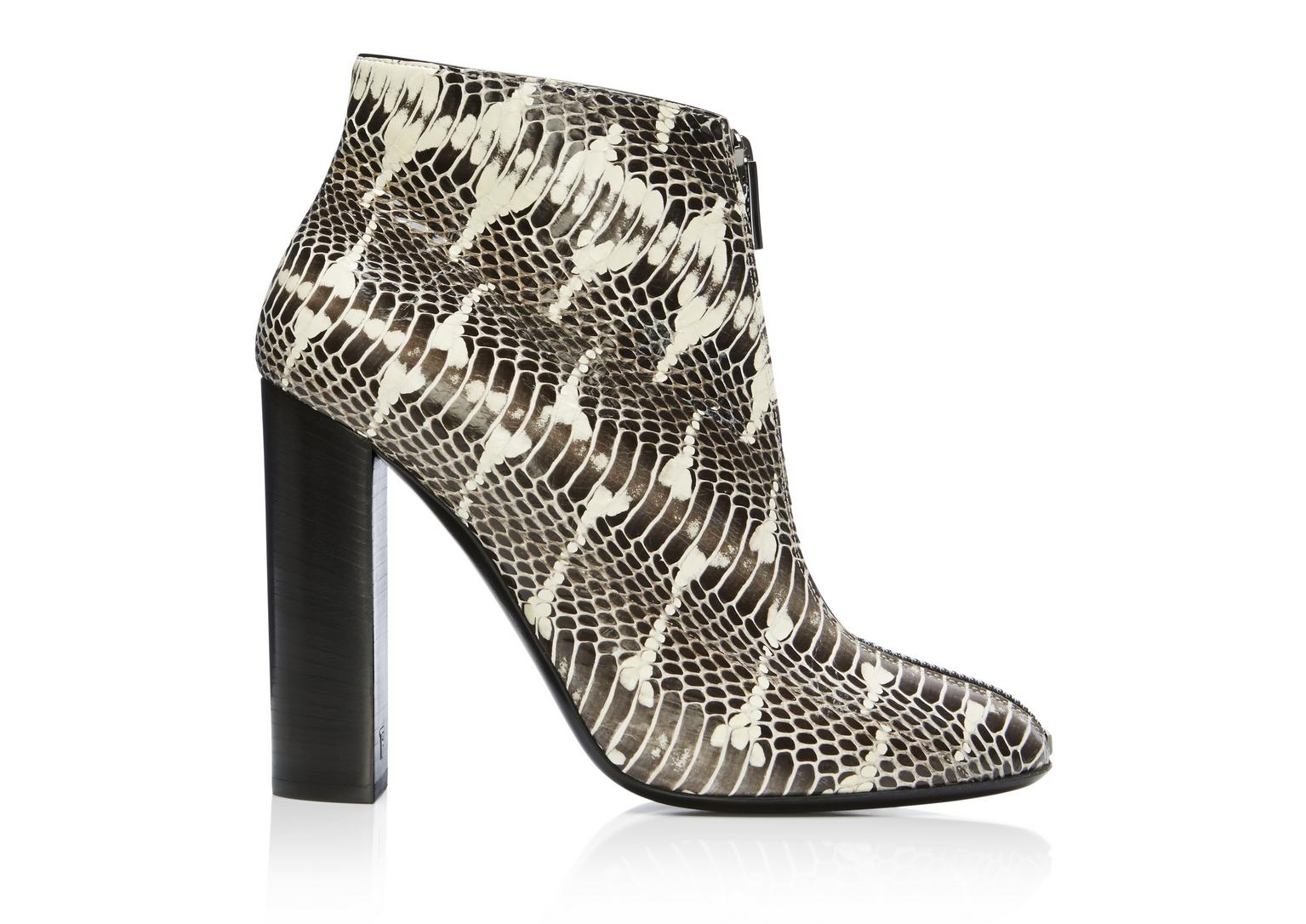 Tom Ford Woman Snake Ankle Boots Animal Print In Ivory