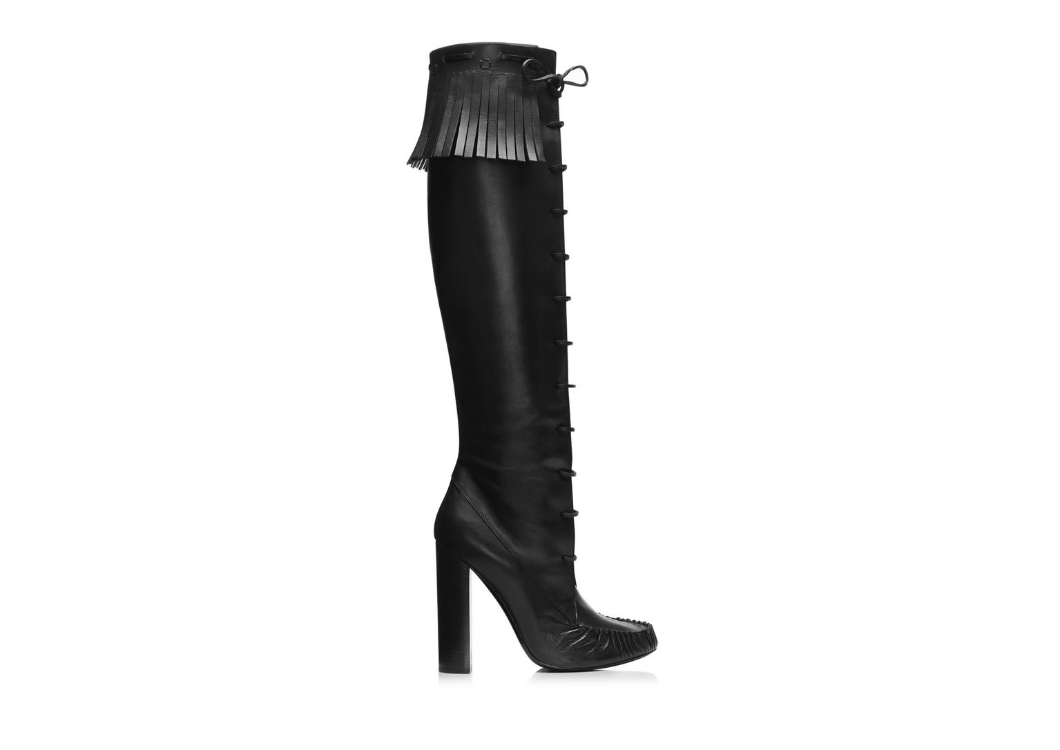 Tom Ford Santa Fe Leather Knee Boots In Black