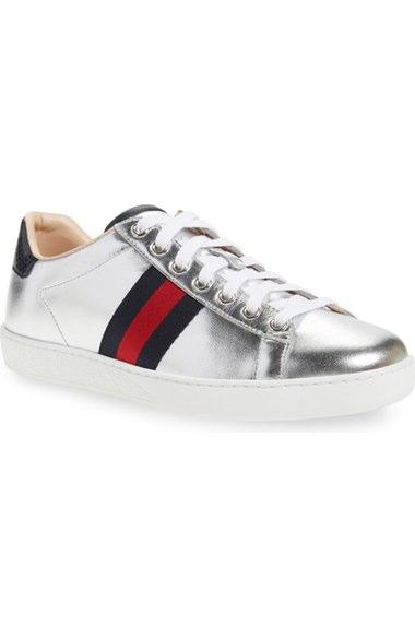975b767d8e Gucci 'New Ace' Metallic Low Top Sneaker (Women) In Metallic Silver ...