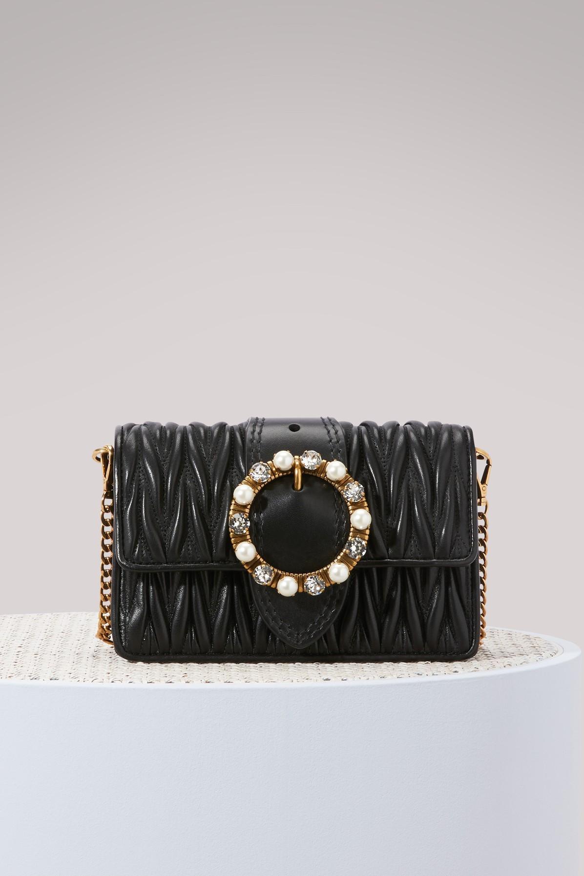 3270305c083 Miu Miu Matelasse Lambskin Leather Crossbody Clutch - Black