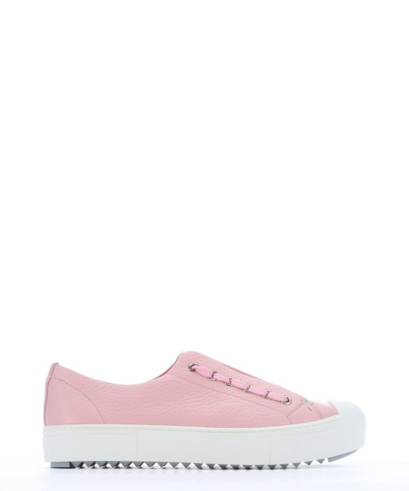 Fendi Light Pink Leather Lace Up Sneakers