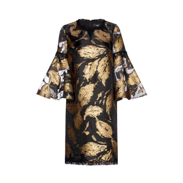Nissa Gold Printed Dress