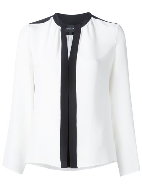 Derek Lam Kara Long-sleeve Silk Blouse In Ivory/black
