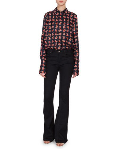 Victoria Victoria Beckham Long-Sleeve Fruit-Print Blouse, Navy/Multi In Multicolored
