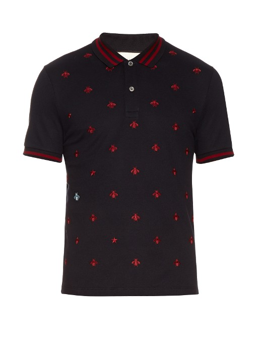 2feed63f4 Gucci Bee And Star-Embroidered Cotton Polo Shirt In Ink-Blue   ModeSens