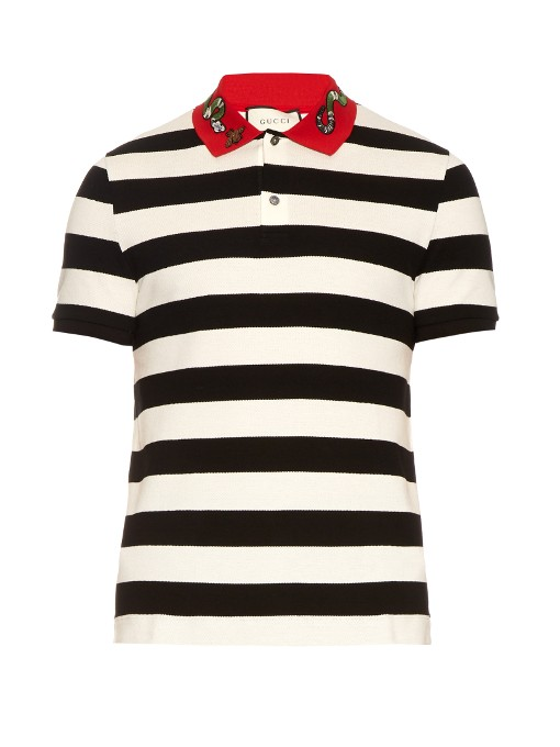 eaa22baf0 Gucci Bee & Snake Embroidered Stripe Polo Shirt, Black In Cotton,  Ivory/Black