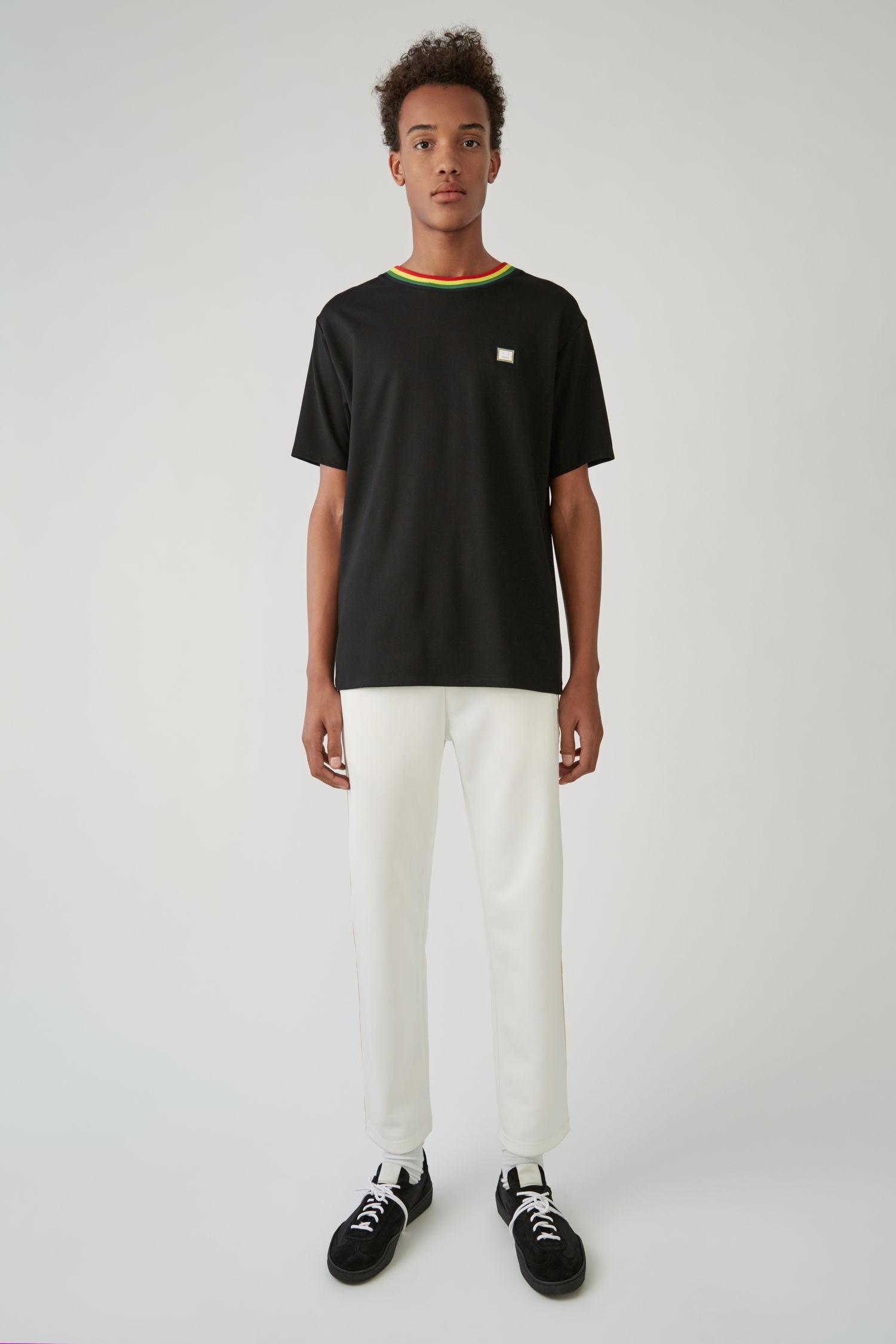 Acne Studios Regular Fit T-shirt Black In White