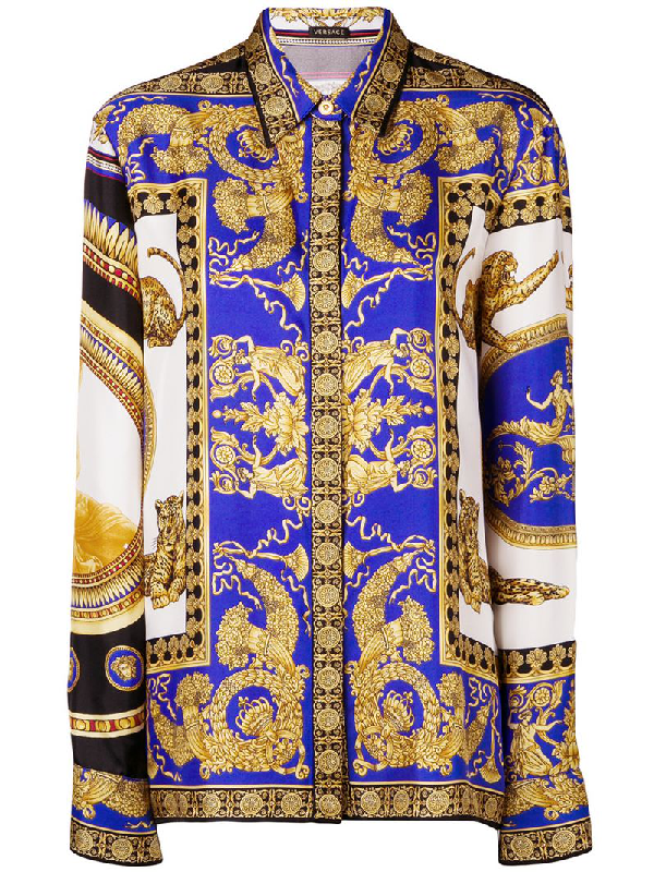 4e6ca574 Versace Lovers Baroque-Printed Silk-Twill Blouse In Black Gold ...