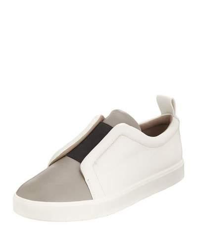 Vince Caden Colorblock Slip-On Sneaker In White/Black