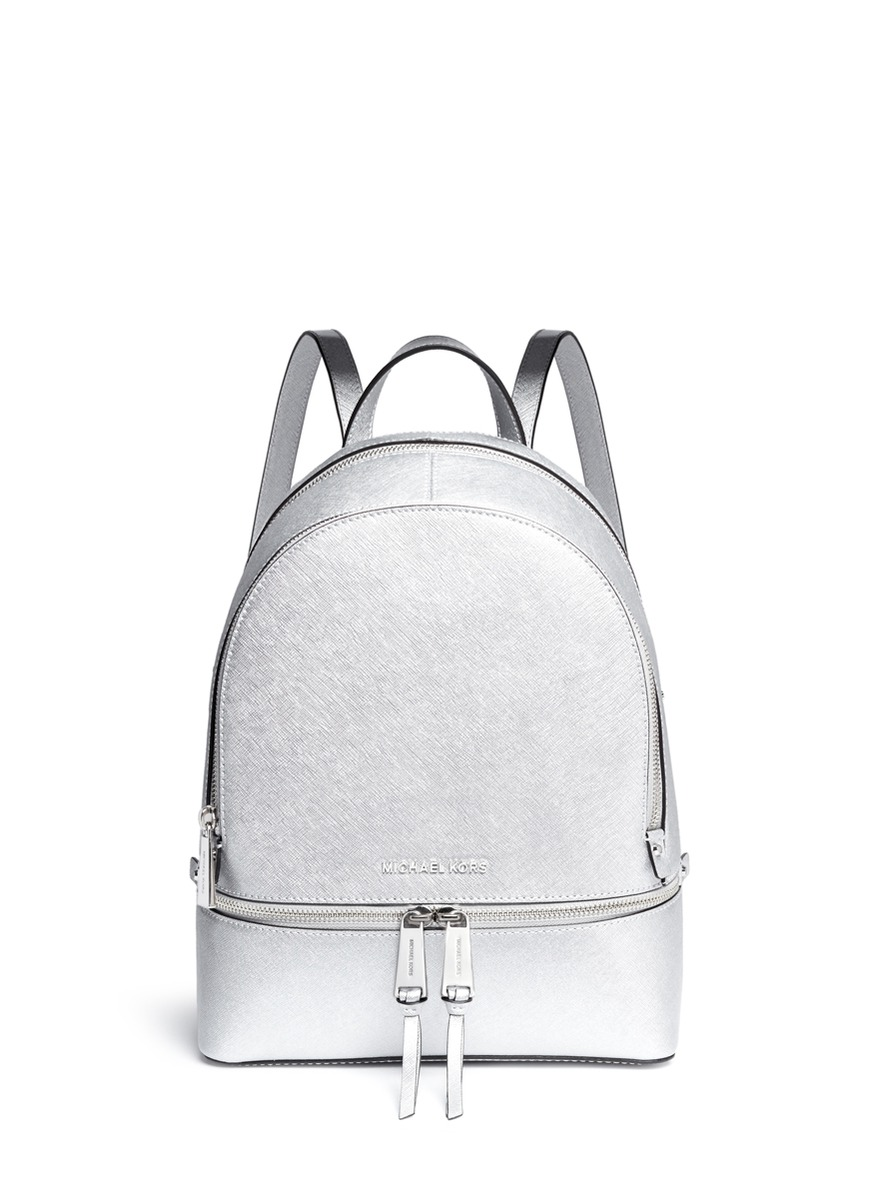a0e78ed9691c Michael Kors  Rhea  Small Metallic Saffiano Leather Backpack In Silver