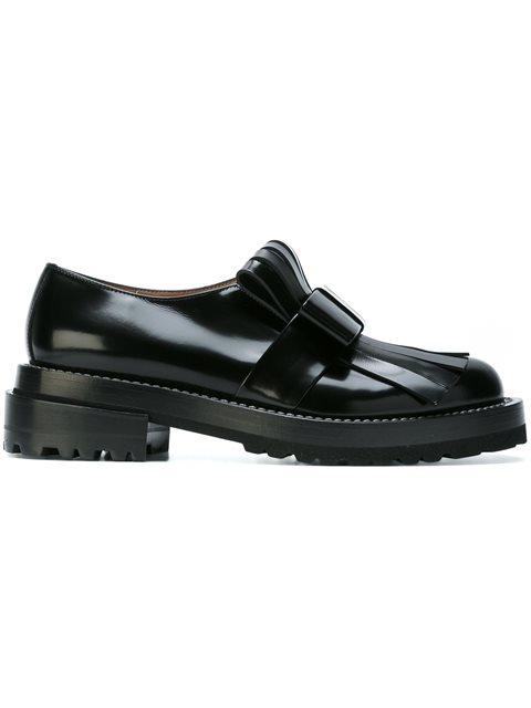 Marni 50mm Fringed Bow Brushed Leather Loafers, Black