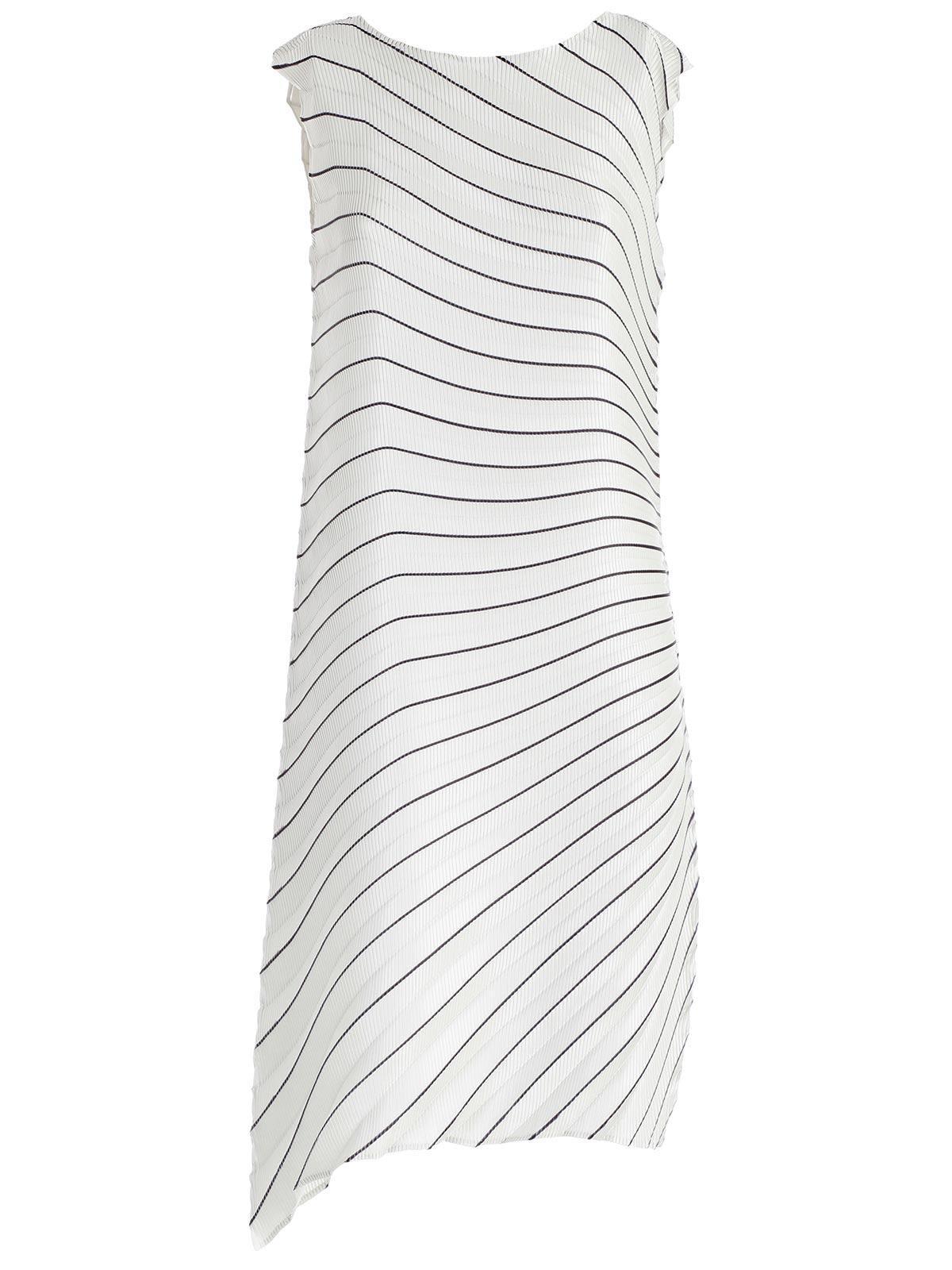Issey Miyake Striped Pleated Midi Dress In Ligh Grey