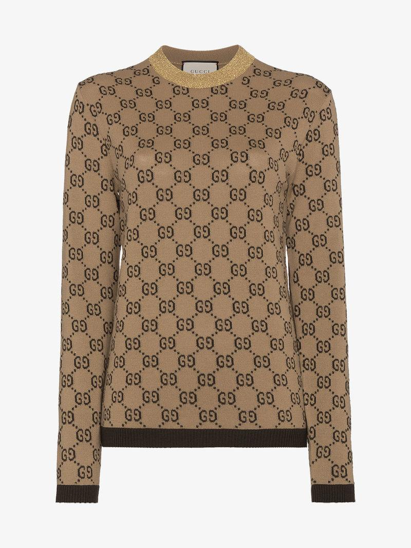 b3911c9228b Gucci Intarsia Logo Wool Sweater In Camel Brown Gold