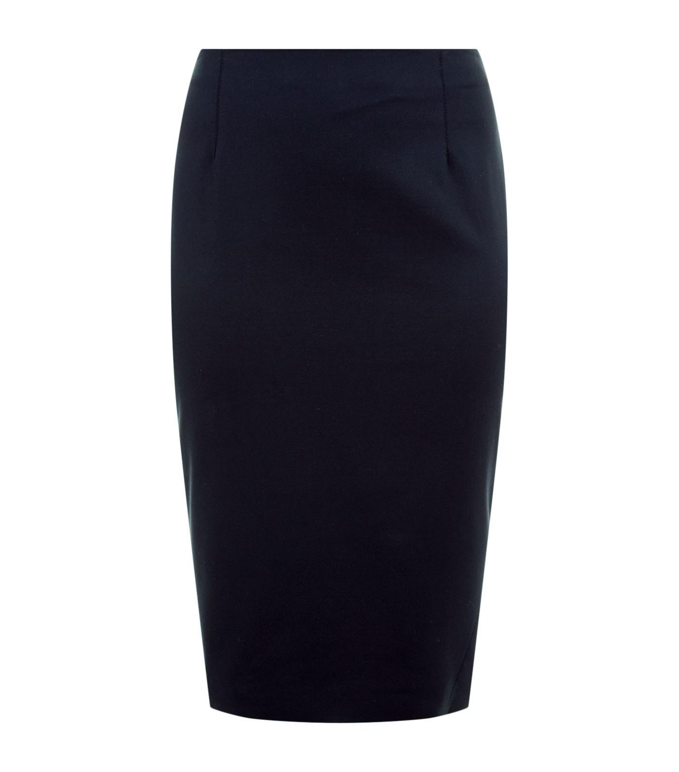 Marina Rinaldi Stretch Cotton Pencil Skirt In Navy