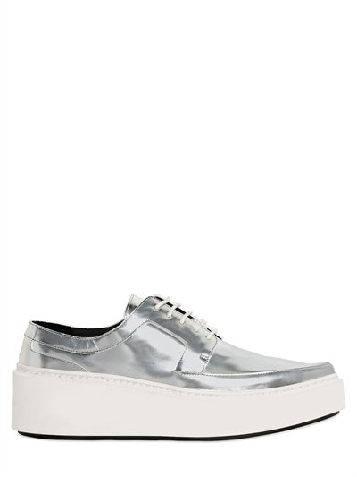 Kenzo 40mm Mirror Leather Derby Lace-up Shoes In Silver