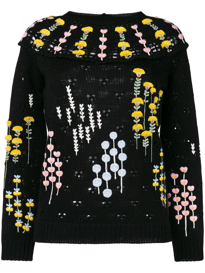 Valentino Popflowers Embroidered Sweater