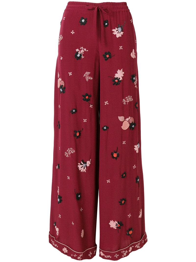 Valentino Floral Embroidered Palazzo Pants In Red