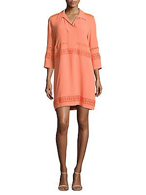 Karl Lagerfeld Eyelet-lace Trimmed Shirtdress In Coral