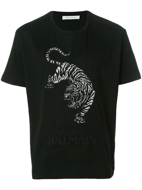 e85b901a Pierre Balmain Tiger/Logo Embroidered T-Shirt In Black | ModeSens