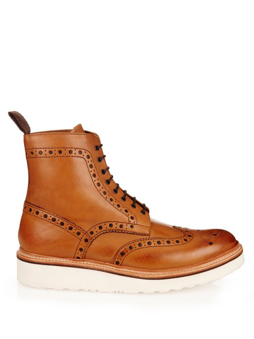 2d1b1e62b0a Grenson - Fred Leather Brogue Boots - Mens - Tan in Brown