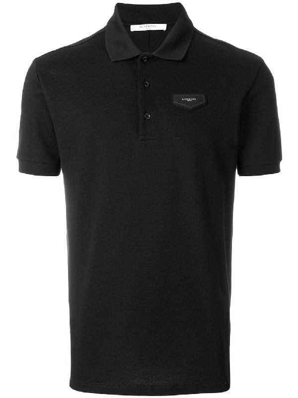 Givenchy Antigona Piquet Cotton Polo Shirt In Black