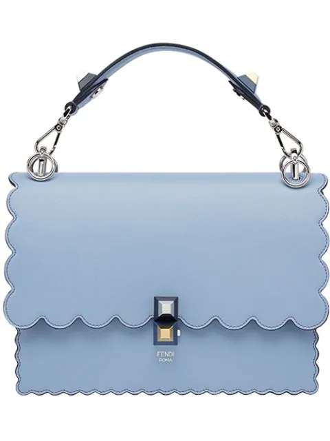 2eb112e1072 Fendi Kan I Regular Leather Scalloped Shoulder Bag In Blue | ModeSens