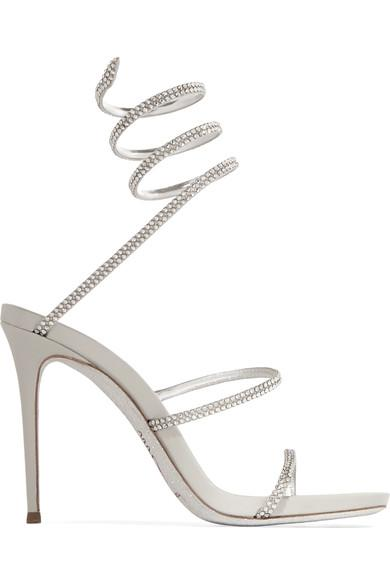 135521713fb9 RenÉ Caovilla Cleo Crystal-Embellished Metallic Leather Sandals ...