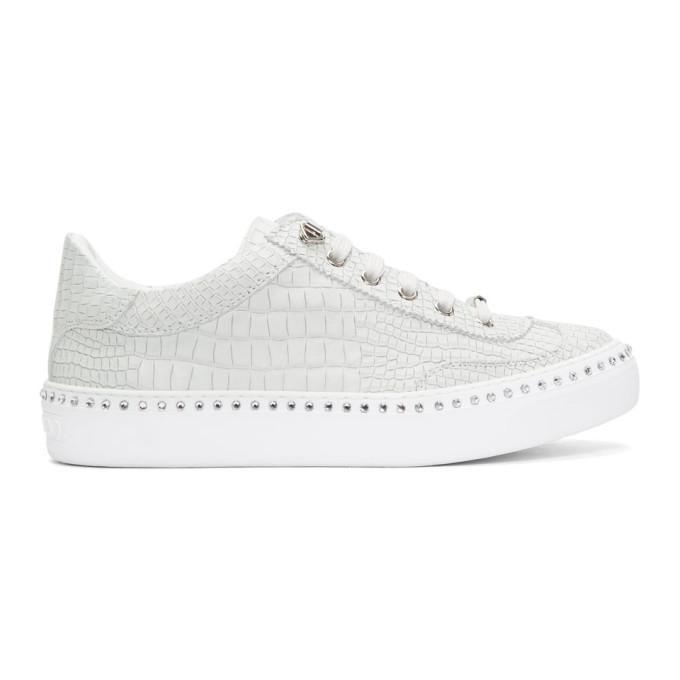 303978f7f78 Jimmy Choo White Croc Crystal Ace Sneakers   ModeSens