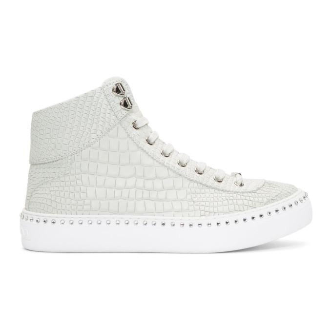 c13a6413204c Jimmy Choo White Croc Crystal Argyle High-Top Sneakers In White Steel
