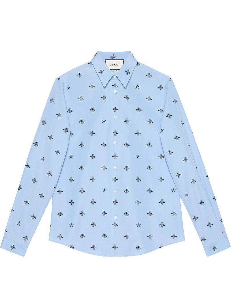 8fe3302dd2d Gucci Bee Star Cotton Duke Shirt - Blue. Farfetch