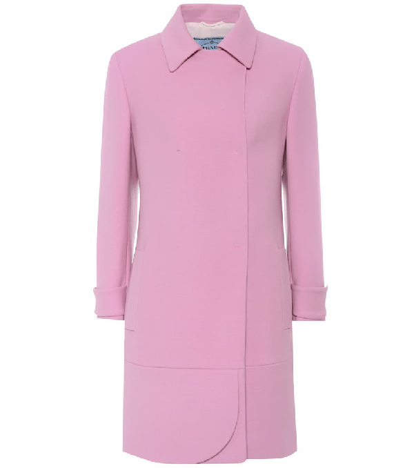 Prada Single Breasted Coat In Pink