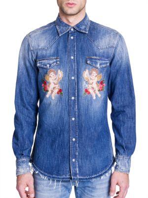 Dolce & Gabbana Cherub Embroidery Western Denim Shirt In Blue