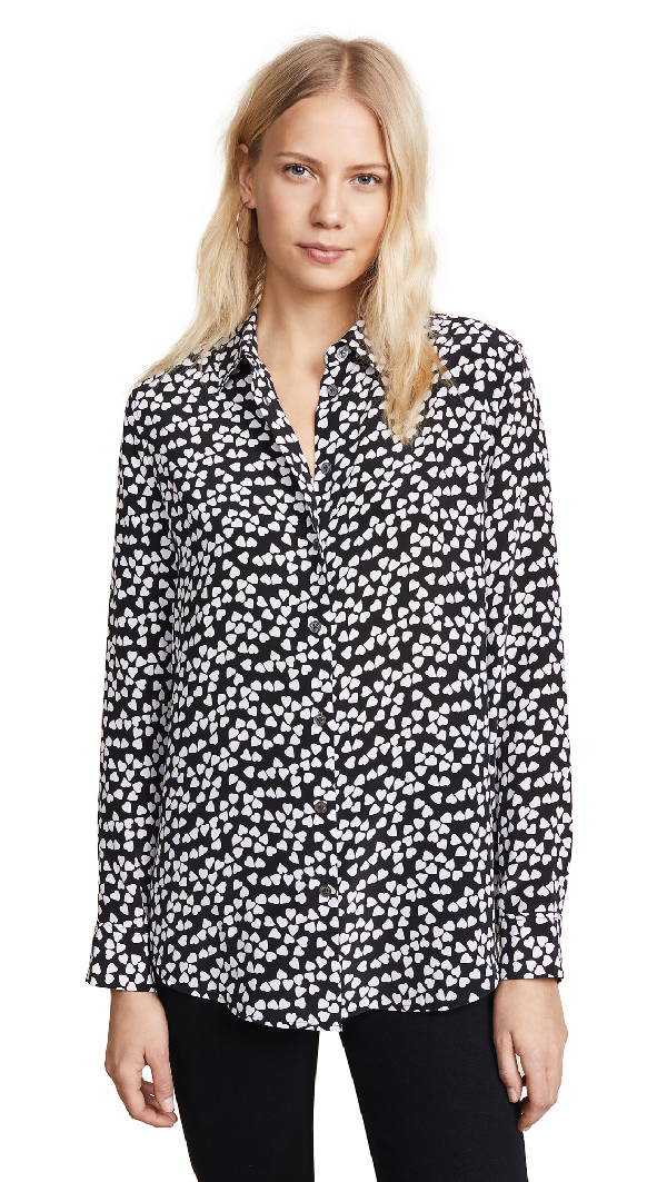 ad6240ab4df21 Equipment Hearts Silk Printed Button-Front Shirt In True Black Bright White