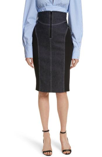 7321a34ea Diane Von Furstenberg High-Waist Zip-Front Knee-Length Jean Skirt In Indigo
