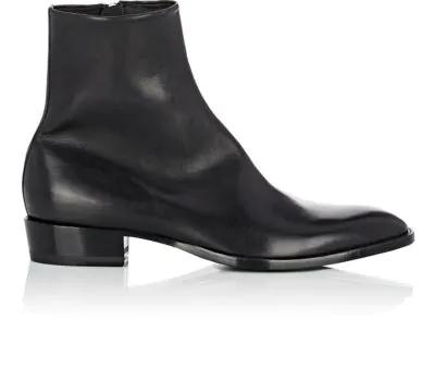 0522729316 Men's Wyatt Goat Leather Zip-Up Boot in Black