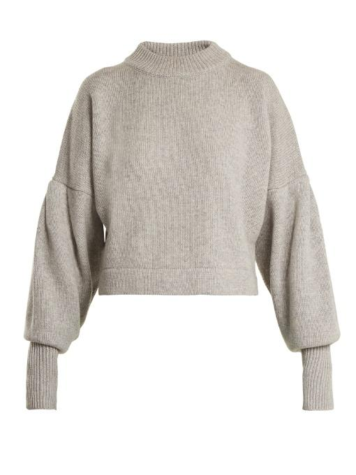 Tibi Pleated-Sleeve Cropped Sweater In Light-Grey