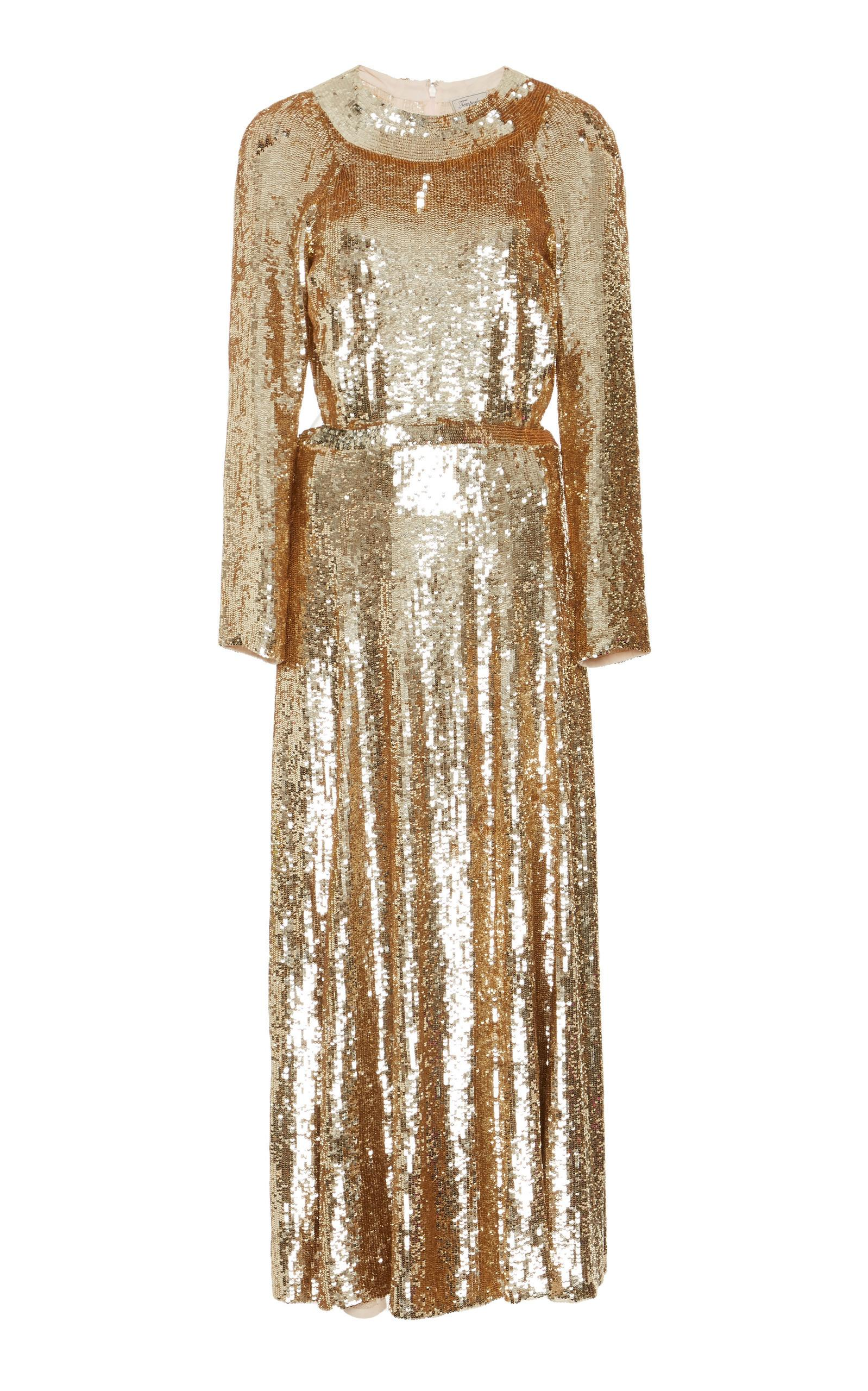 75cd5fad249 Temperley London Ray Sequined-Tulle Dress In Gold