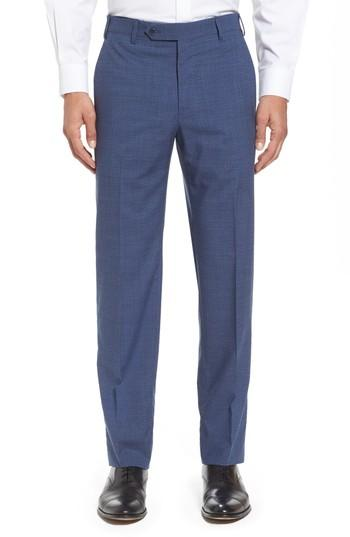 Zanella Devon Flat Front Check Wool Trousers In Blue