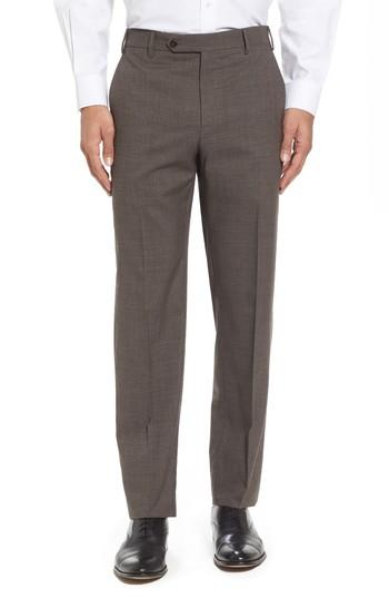 Zanella Devon Flat Front Check Wool Trousers In Brown