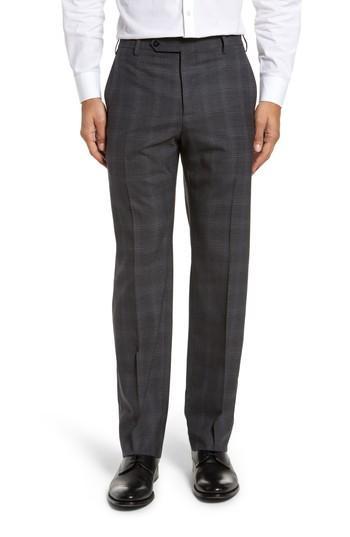 Zanella Devon Flat Front Plaid Wool Trousers In Dark Grey
