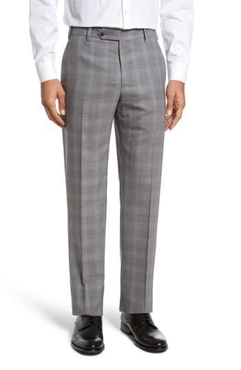 Zanella Devon Flat Front Plaid Wool Trousers In Light Grey