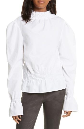831d49c66e7970 Frame Smocked Detail Poplin Blouse In Blanc | ModeSens