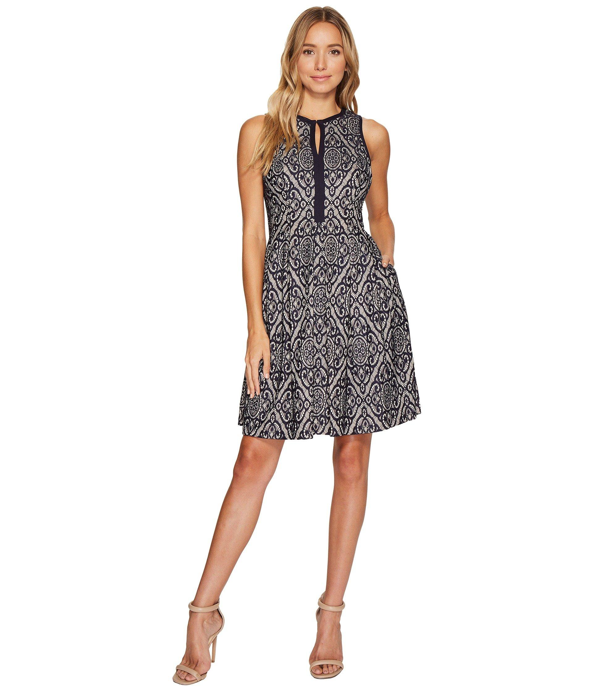 Lace Sleeveless Fit Flare Dress W Piping In Navy