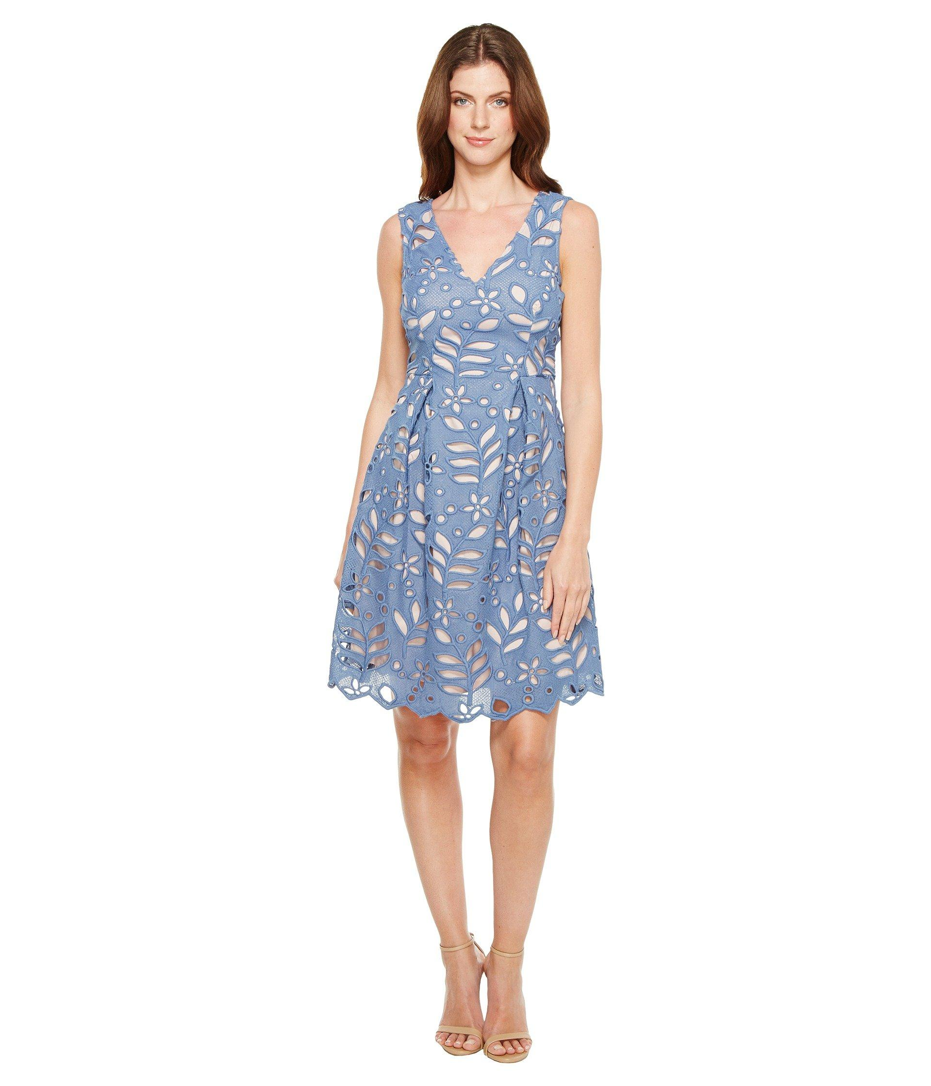 Bella Lace Fit And Flare A Line Sleeveless V Neck Dress Steel Blueblush