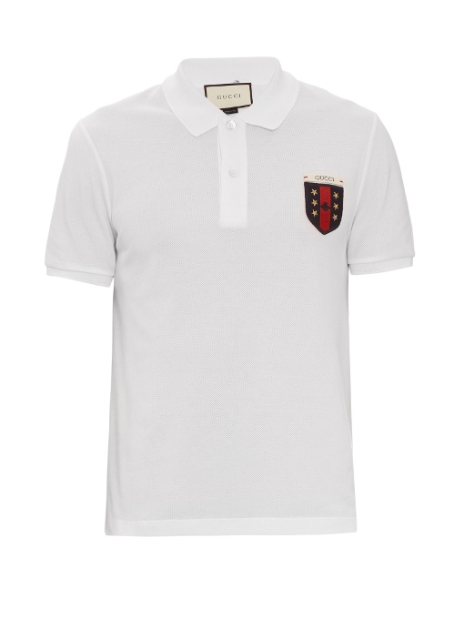 876348c15b Gucci Logo-Embroidered Polo Shirt In White | ModeSens
