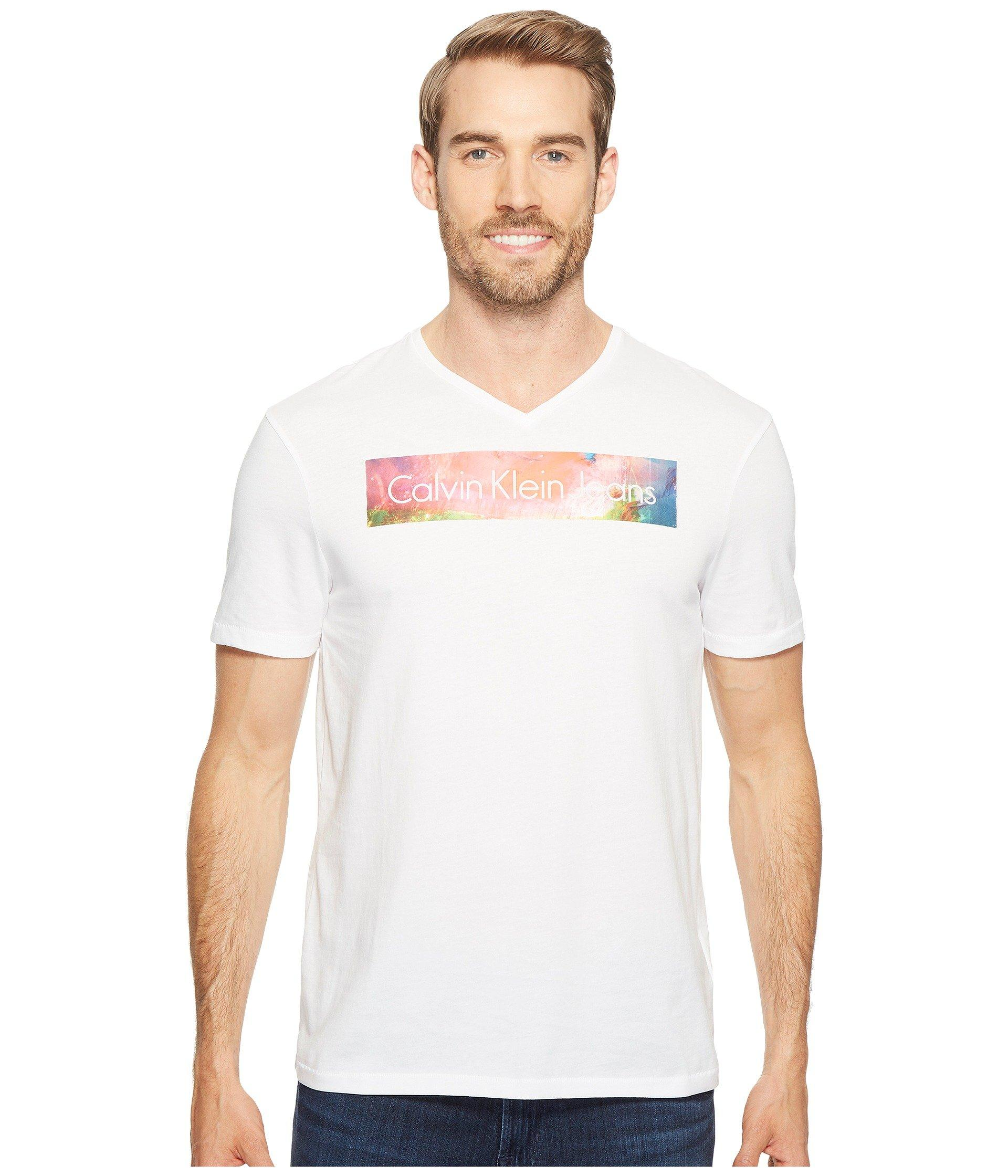 89f751dc9ed3 Calvin Klein Jeans Rainbow Logo Bar V-Neck T-Shirt In Mood Indigo ...