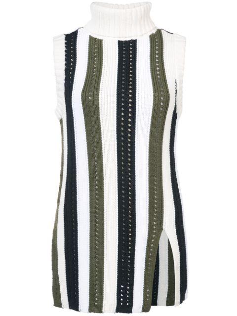 Derek Lam 10 Crosby Sleeveless Striped Turtleneck Sweater In White