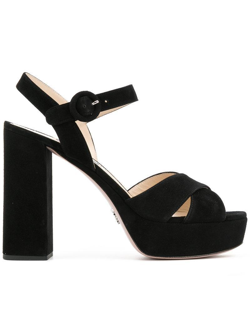 5e828dd3809 Prada Chunky Heel Platform Sandals In Black