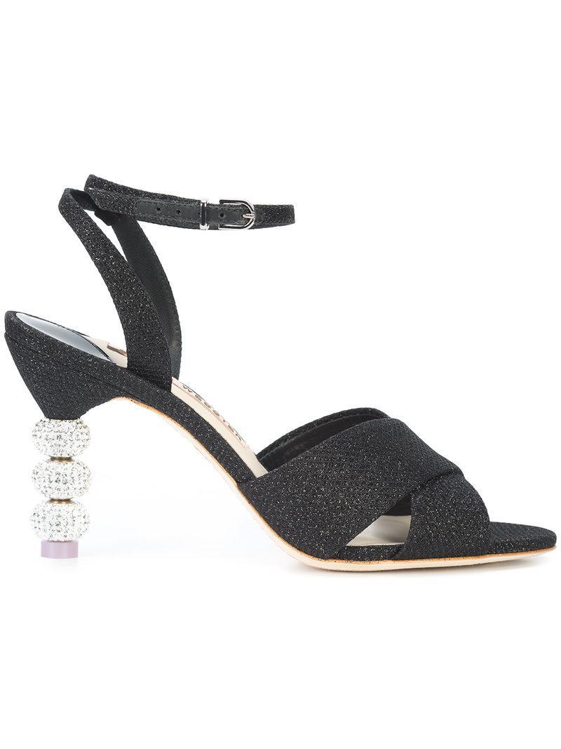 Sophia Webster Natalia Mid Ball-Heel Glitter Sandal In Black
