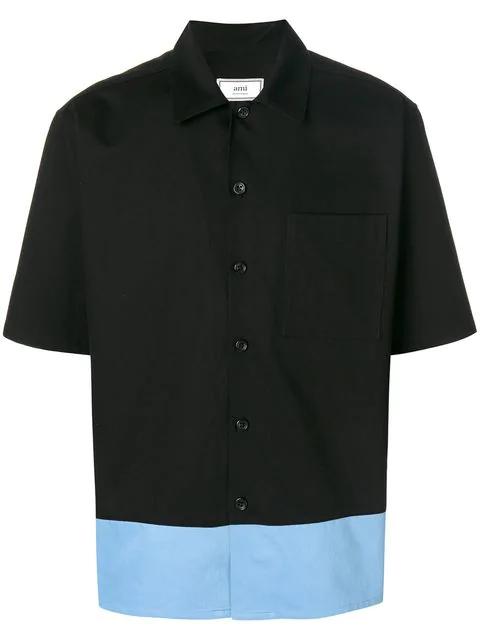 Ami Alexandre Mattiussi Contrast-panel Short-sleeved Cotton Shirt In 005blkblu